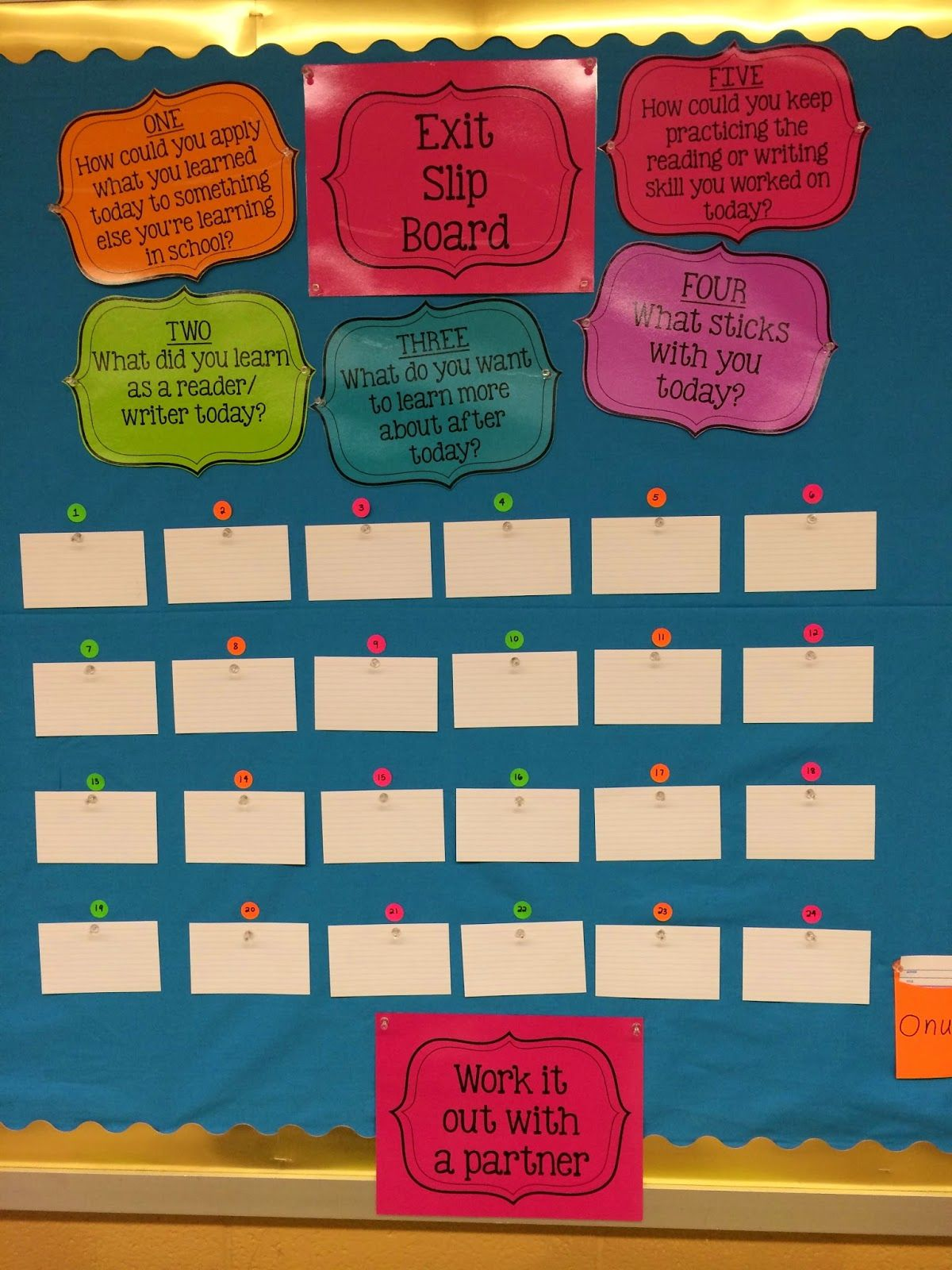 Exit Slip Bulletin Board With Five Focus Questions