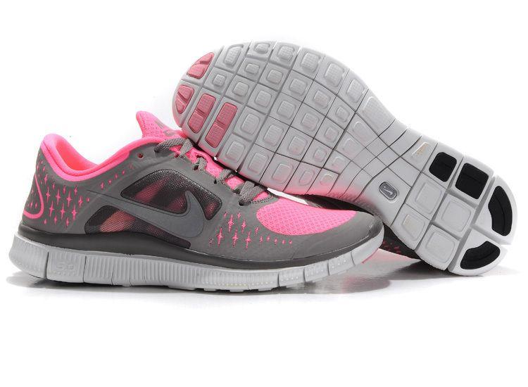 nike free run+ women's running shoe grey/pink/silver