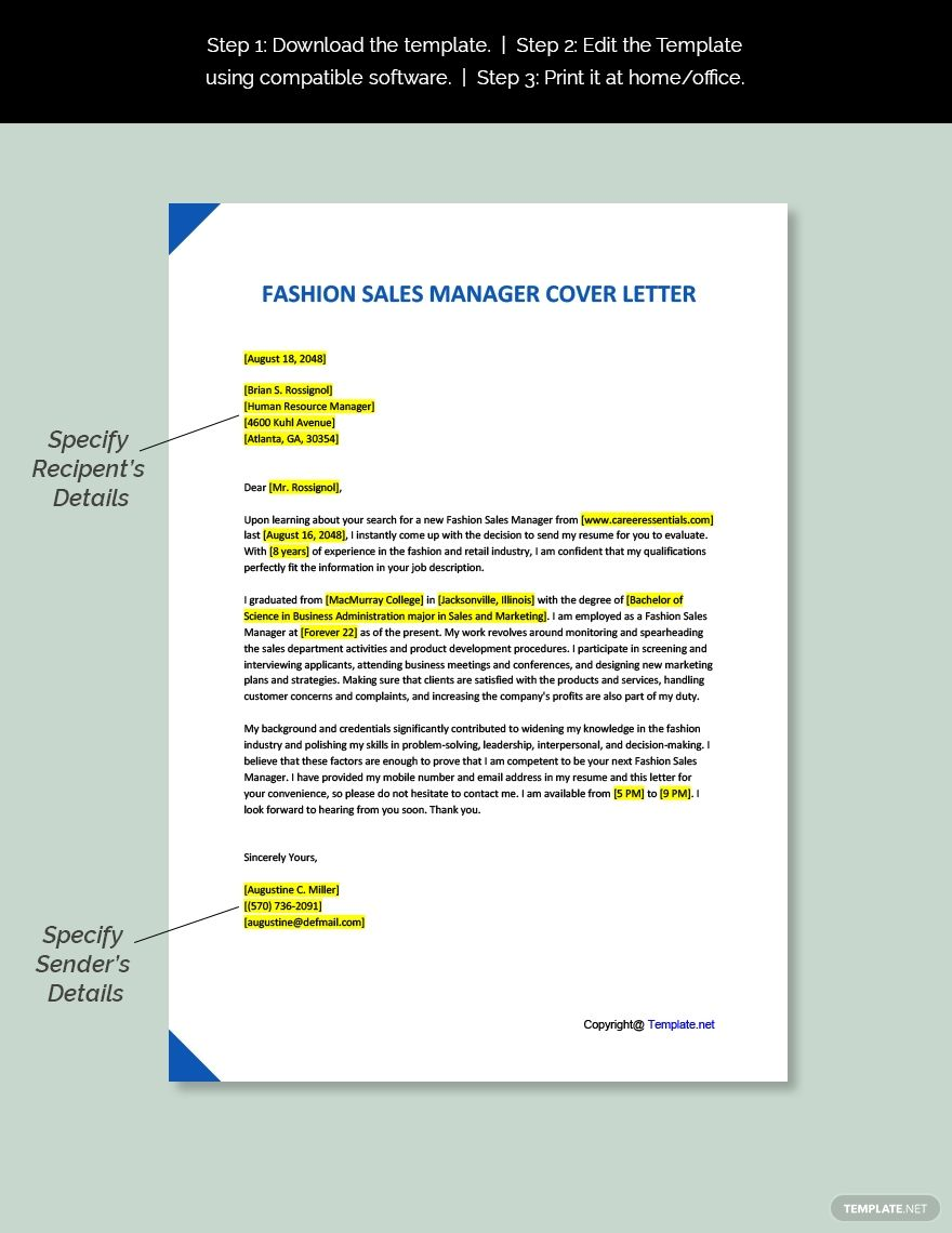 FREE Fashion Sales Manager Cover Letter Word Google