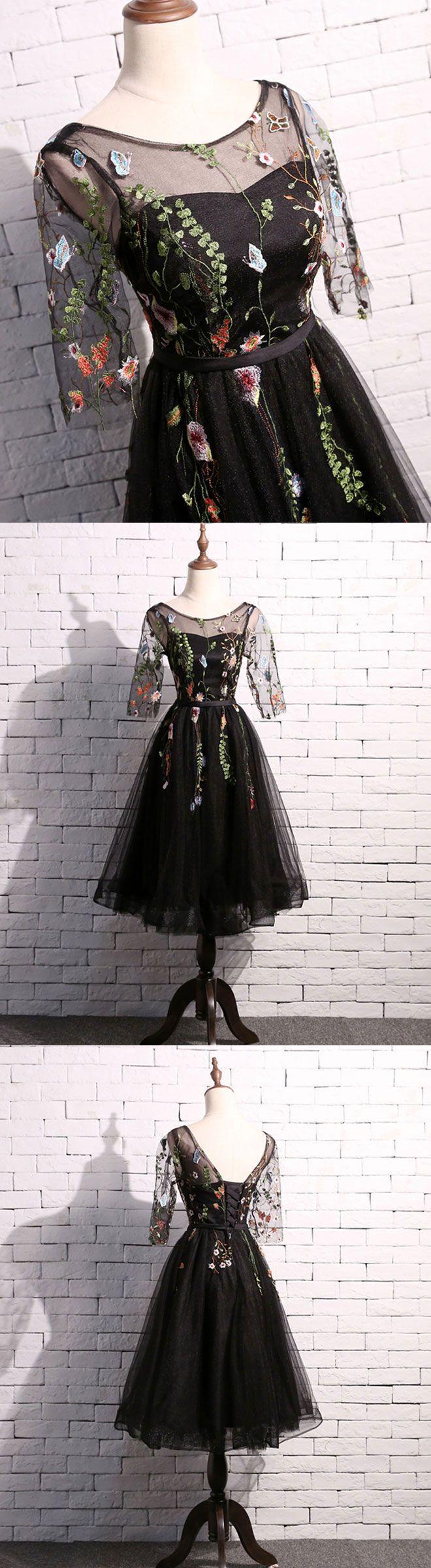 Cute black short prom dress black homecoming dress