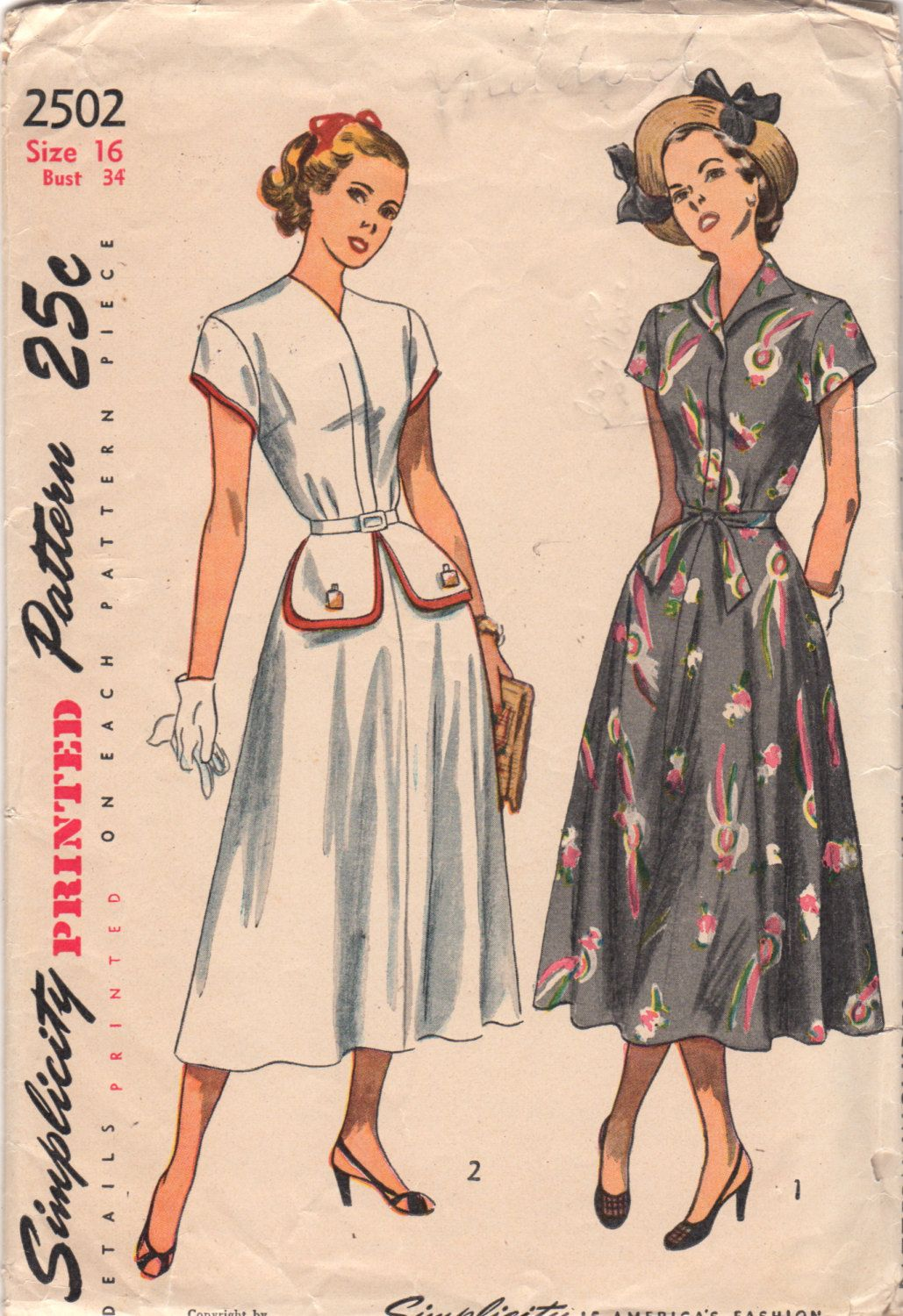 Sew Something Vintage 1940s Fashion: 1940s Simplicity 2502 Misses Flared Skirt DRESS Pattern