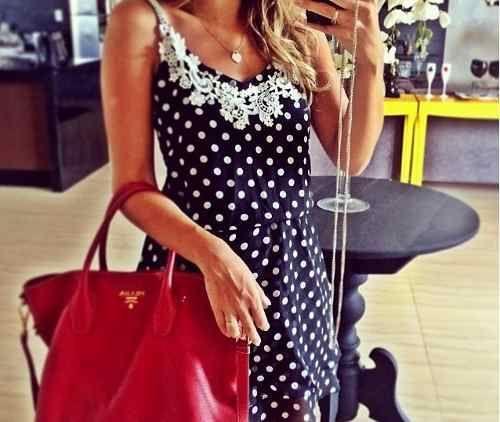 Vestido Bolinhas Com Renda Grippir - R$ 82,50