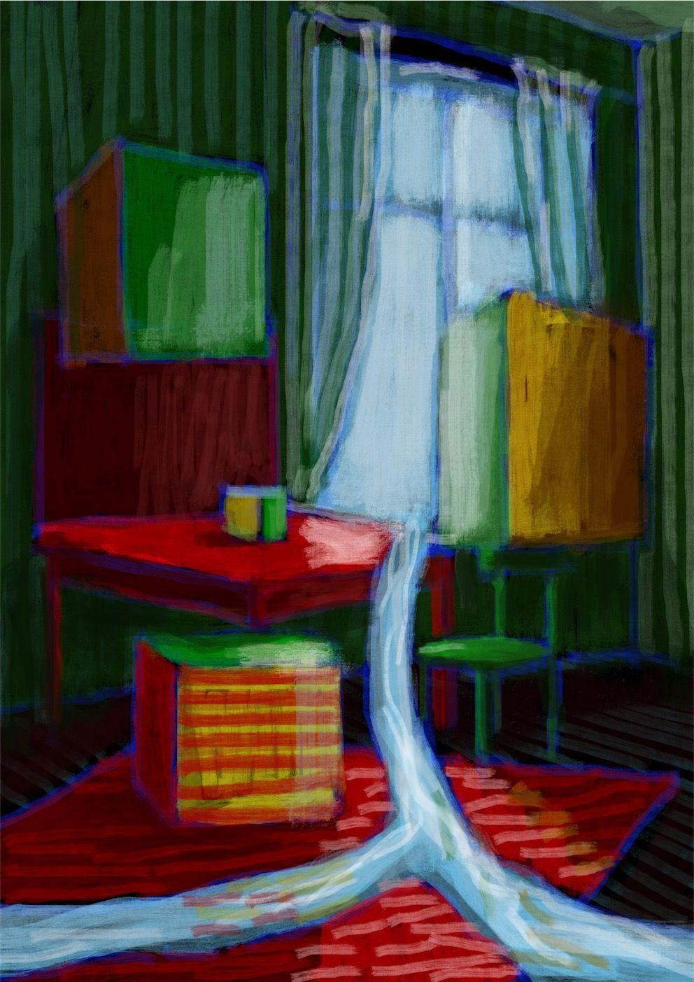 Antoine Vernet, La table de jeu devenu fleuve éperdu, huile sur toile, 1932 - Reconstitution digitale, esquisse, Ésèpe de Zélée, 2016 © Antoine Vernet & Ésèpe de Zélée