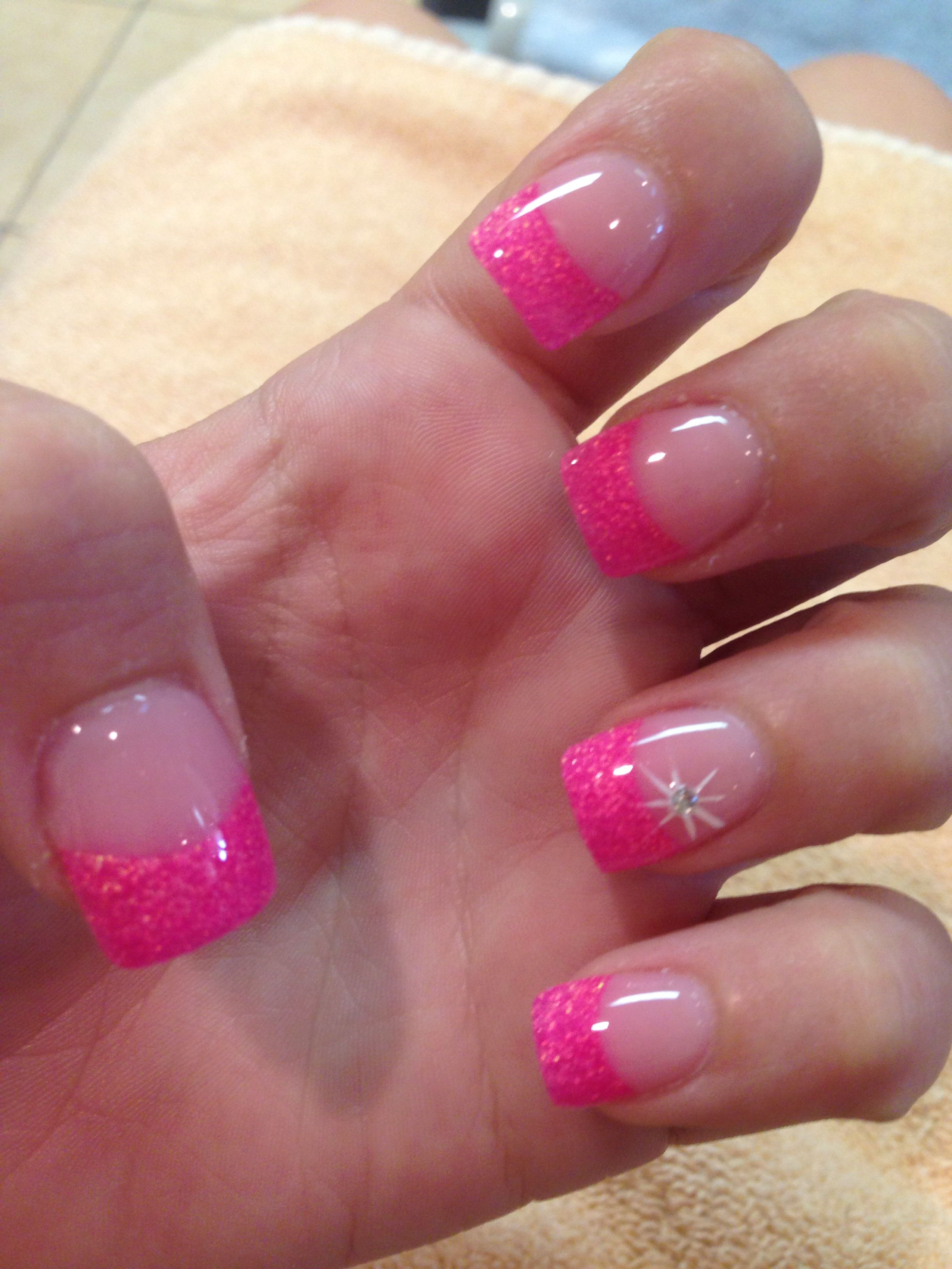 Hot Pink Glitter Tips With Images Pink Tip Nails French Tip