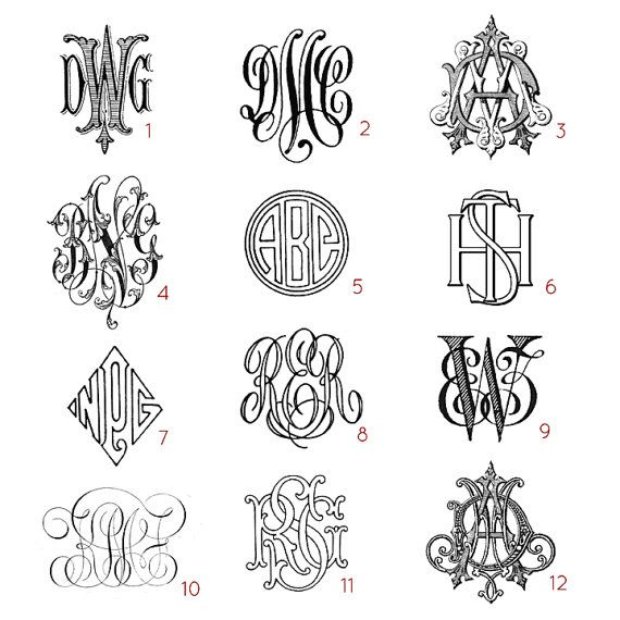 custom three letter monograms choose your style from antique books printed in the 1800s