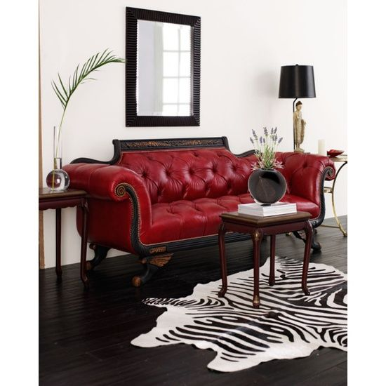 Animal Print Rug A Fake One For Me But Cool None The Less Red Leather Sofa Leather Sofa And Loveseat Living Room Red