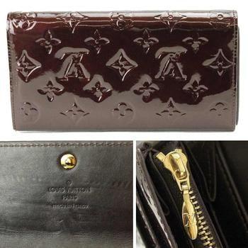 ルイヴィトンLOUISVUITTONヴェルニポルトフォイユサラアマラント紫長財布M93524