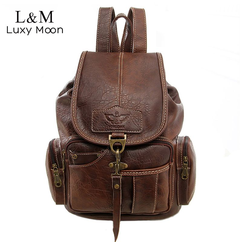 eda3169e0e  50.74 - Cool Vintage Women Backpack for Teenage Girls School Bags Fashion  Large Backpacks High Quality PU Leather Black Bag Brown Pack XA658H - Buy  it Now!