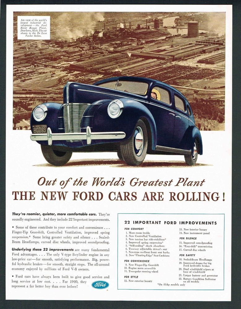 1940 Magazine Ad Ford Deluxe 4 Door Blue Dearborn Michigan Plant Photo Fa026 With Images Automobile Advertising Sedan Dearborn Michigan