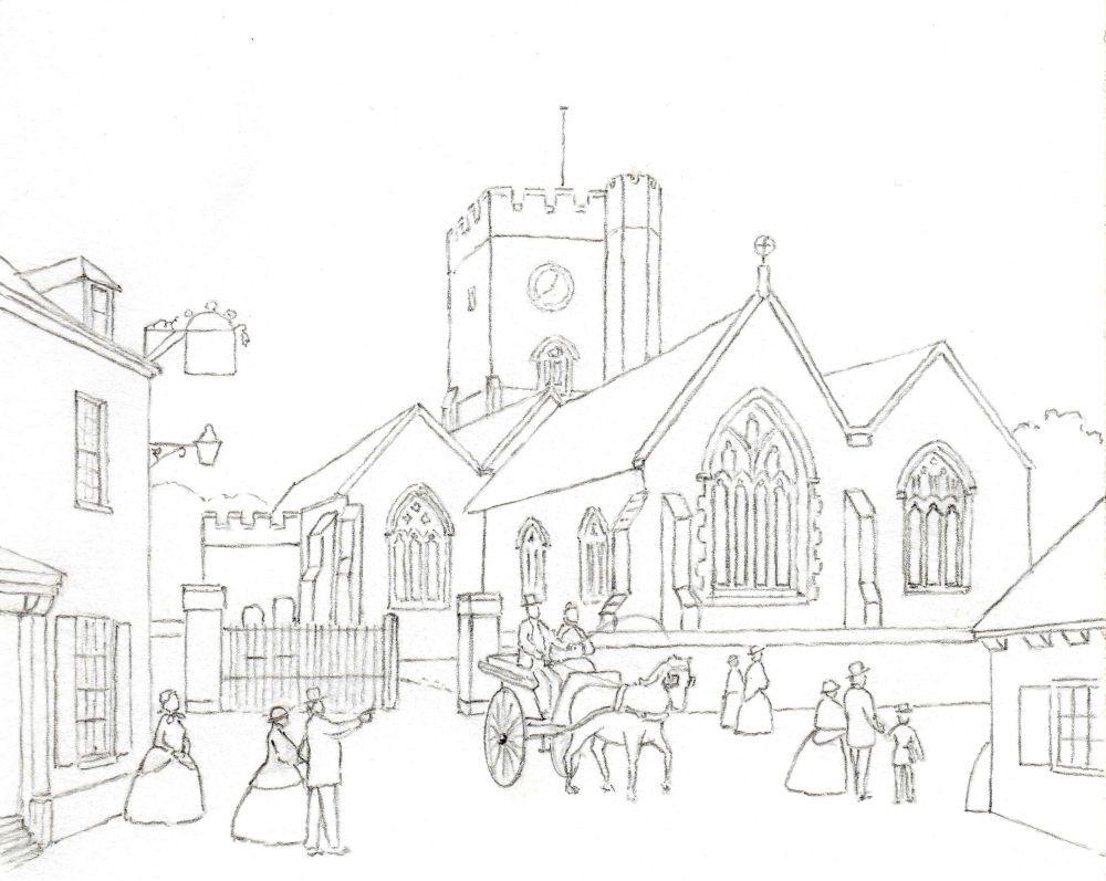 St-Peters-line-drawing.jpg 1,000×797 pixels