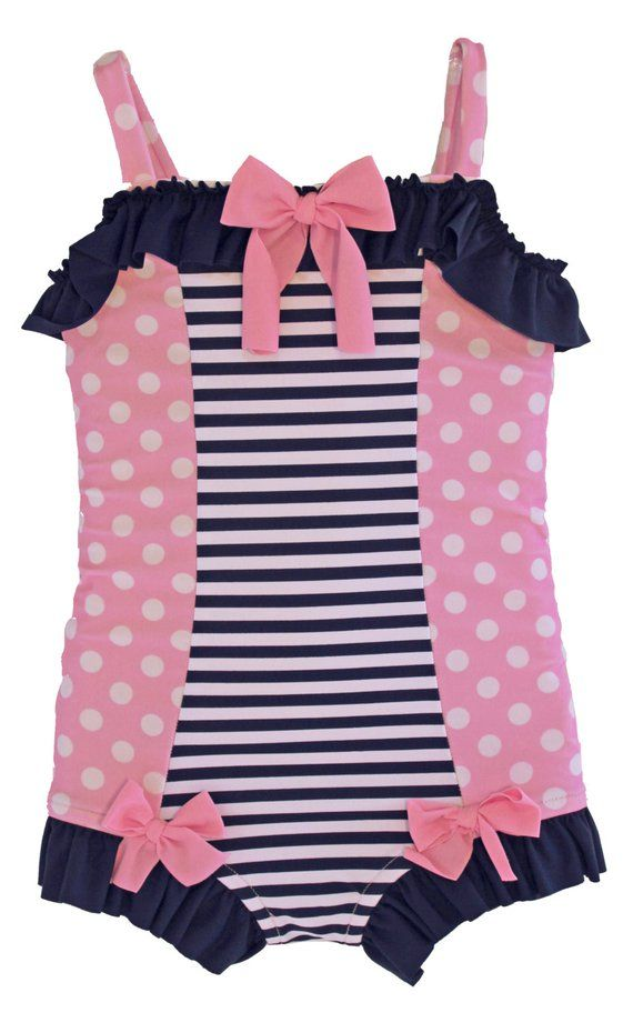 1ff3bcc414 Pink Polkadot & Navy Stripe retro one piece girls swimsuit (Size 2 and 6)  ***Markdown