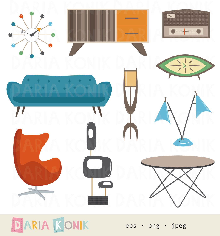 Retro Furniture Clipart Set Midcentury Modern Design, Atomic Age, Lamp, Sofa ,