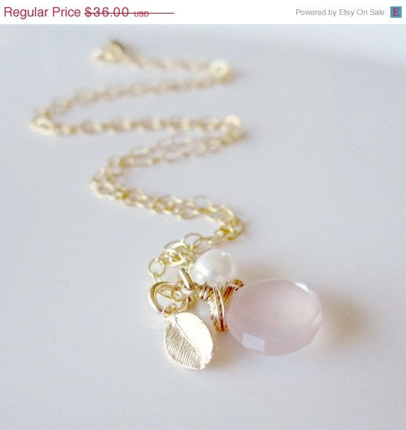 ON SALE Pink Necklace Pale Pink Gemstone Gold Leaf by LexiandGem, $30.60
