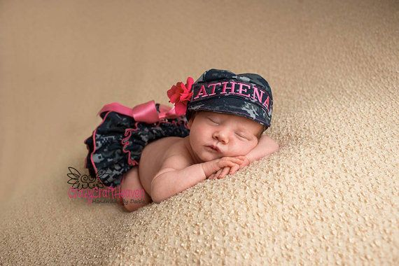 47b1dbb70 Baby girl military cap and diaper cover ALL by CrazyCraftHeaven ...