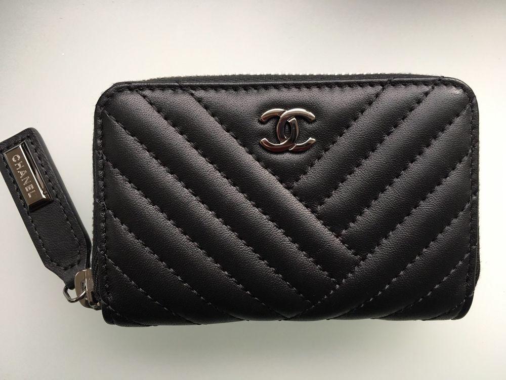 Chanel chevron small zip around wallet card case coin