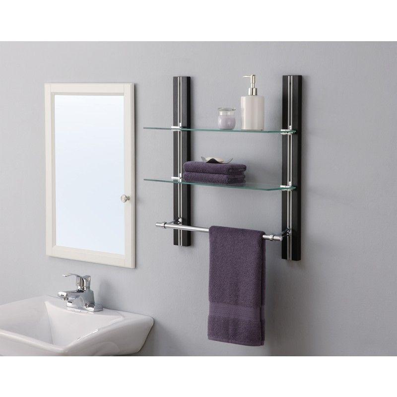 2 Tier Glass Shelf with Towel Bar by Organize It All | BATHROOM ...