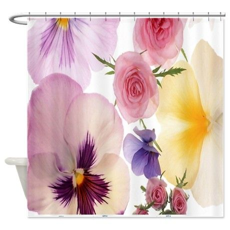 Pink Pansy Shower Curtain On CafePress