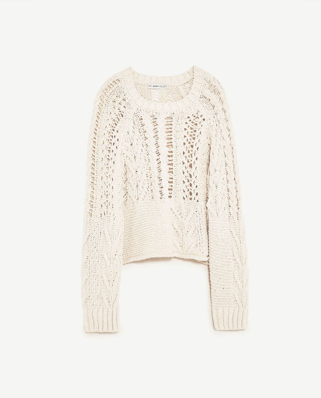 7556858aac1de9 Image 8 of OPEN-WORK CABLE KNIT SWEATER from Zara
