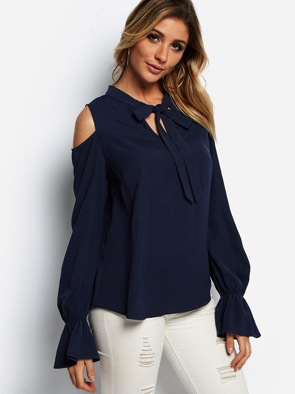 6760ae779c21 Navy Self-tie Design Cold Shoulder Bell Sleeves Blouse #yoins #dresses  #fashion #cocktail_dresses, #partydresses, dresses,cocktail dresses, party  dresses, ...