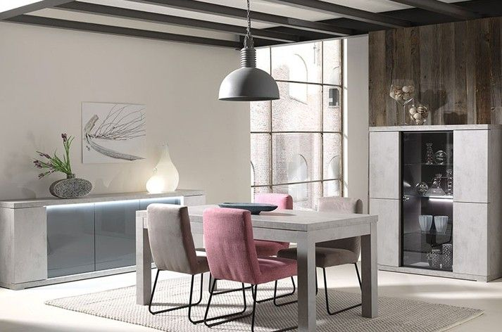 salle manger compl te couleur gris b ton moderne avec clairage led ophelie salle a manger. Black Bedroom Furniture Sets. Home Design Ideas