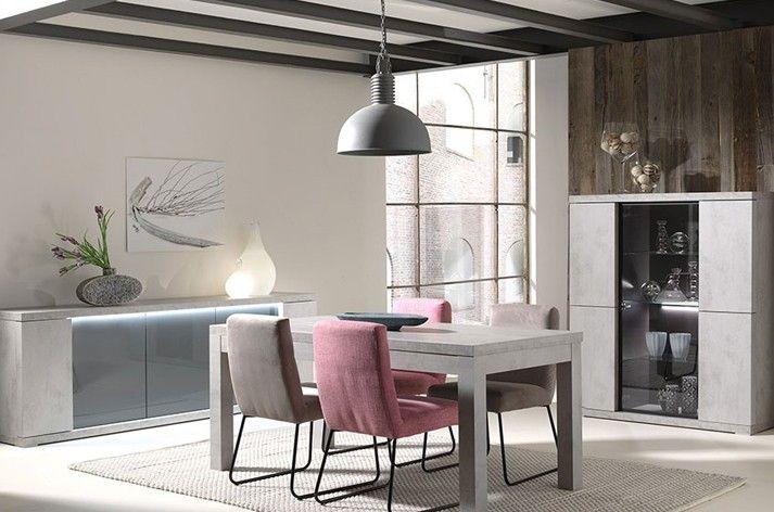 salle manger compl te couleur gris b ton moderne avec clairage led ophelie salle a manger. Black Bedroom Furniture Sets. Home Design Ideas