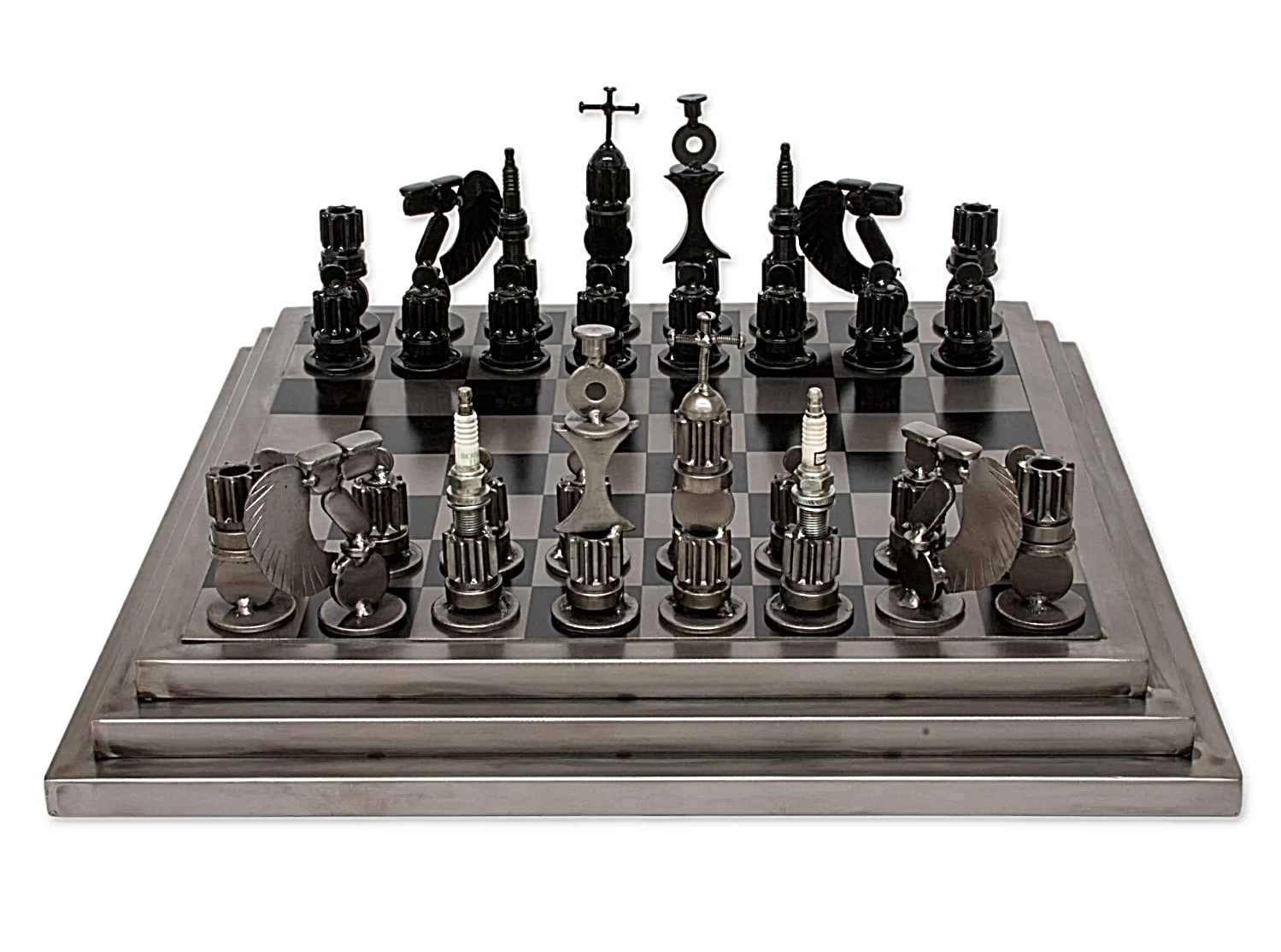 Best Chess Board Game Unique Set Metal Vintage Handcrafted