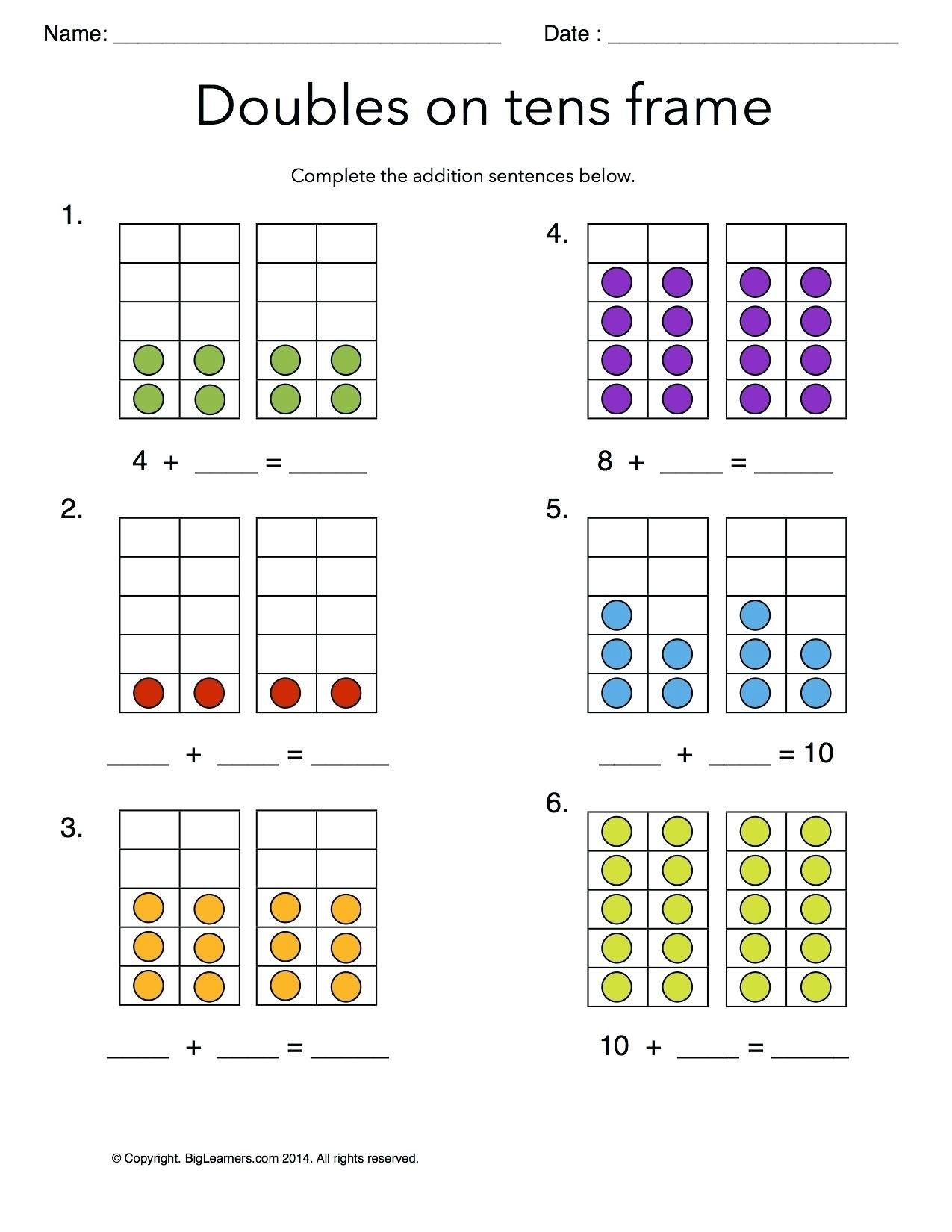 5 Free Math Worksheets First Grade 1 Addition Adding Whole