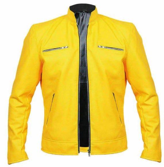 Dirk Gentlys Samuel Barnett Men/'s Yellow Biker Faux Leather Jacket