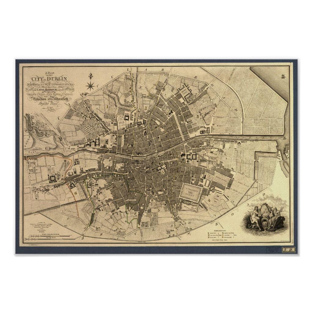 Dublin City Map 1797 Vintage Print