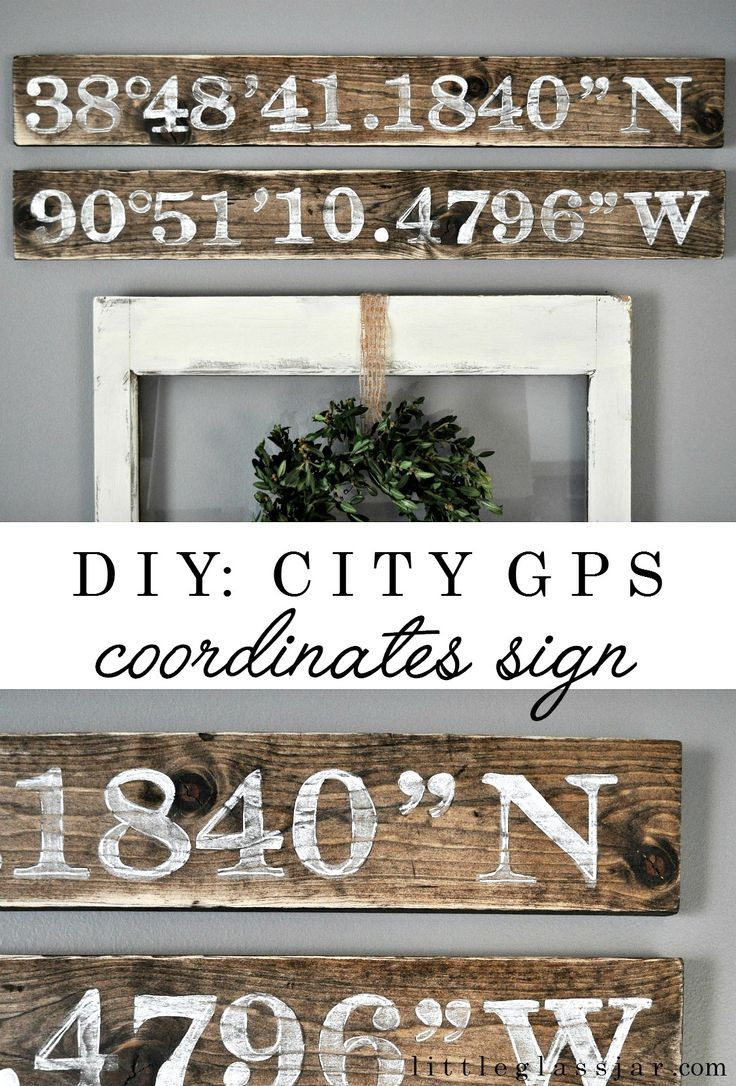 City destination reclaimed wood Sign With Coordinates