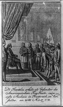 Louis XIV receiving Benjamin Franklin on 6 February 1778, 1778 engraving, French school