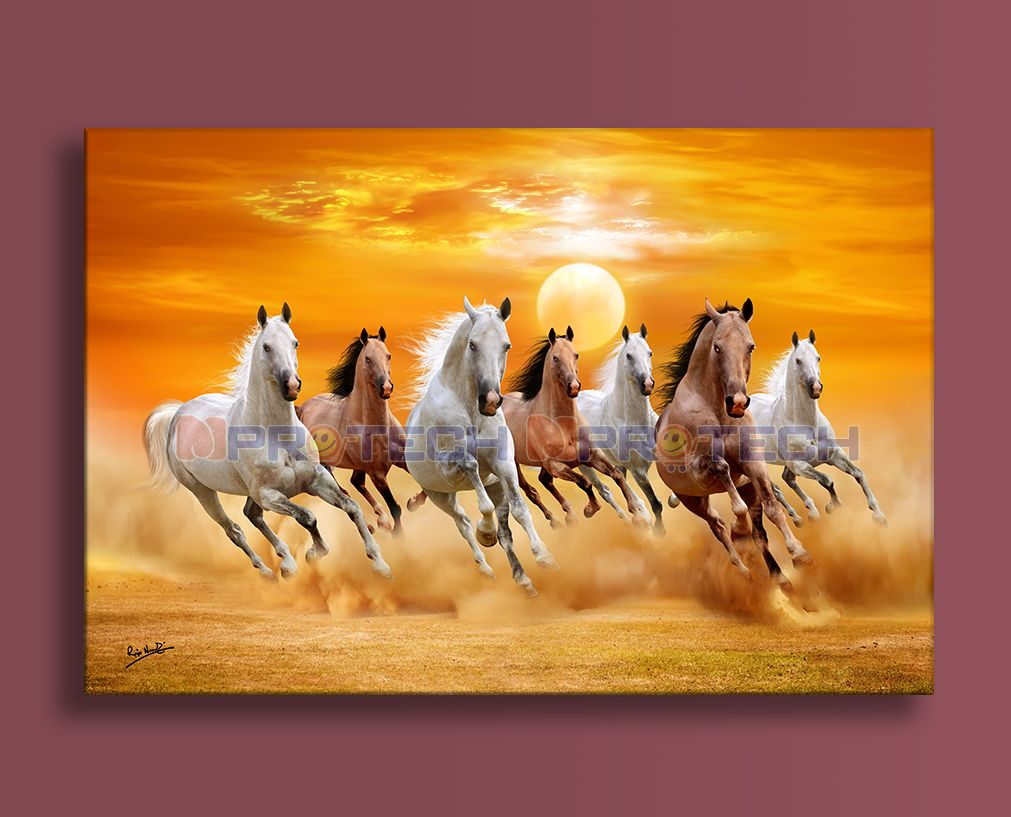 Wall Canvas Realistic Digital Seven Running Horses Vastu Paintings For Living Room And Office Horse Painting Running Horse Painting Painting