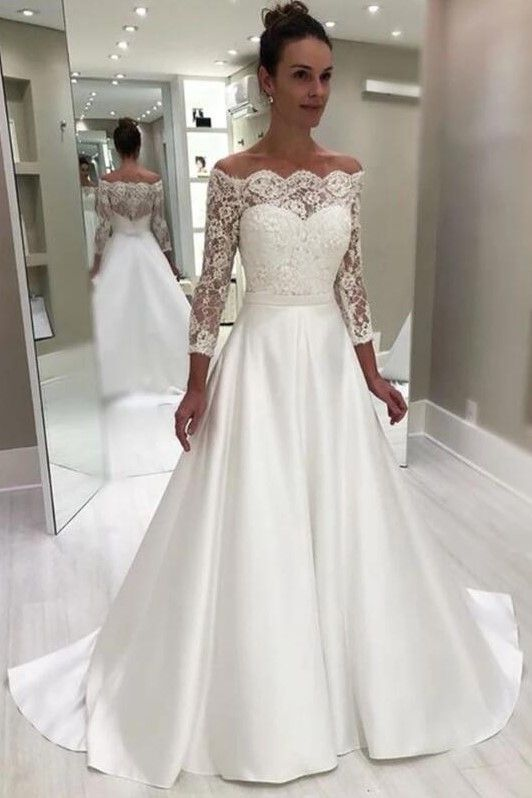 Off The Shoulder Lace Sleeve Wedding Gown With Satin Skirt In 2020 Boho Wedding Dress Lace Wedding Dress Trends Wedding Dresses
