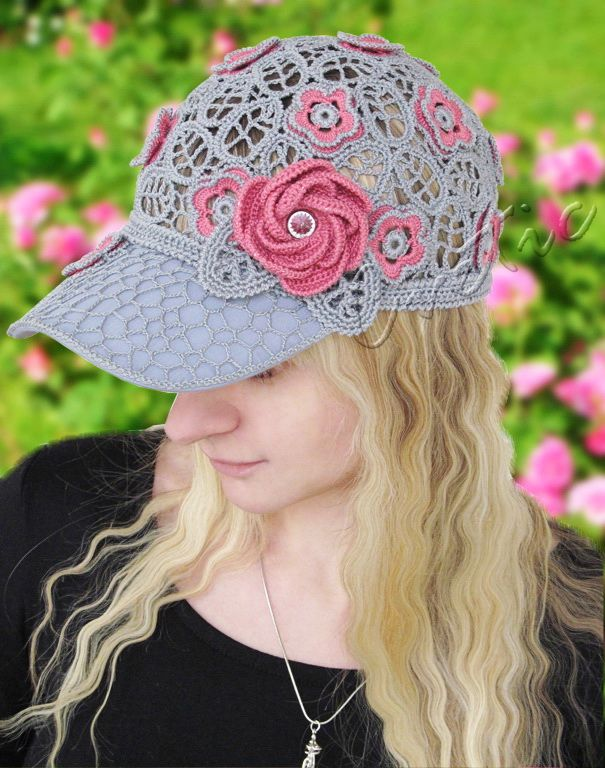 Wild Rose Lace Cap Peaked Cap Womens Baseball Cap Crochet