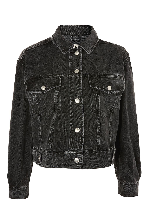 Moto Oversized Cropped Jacket Topshop Grey Denim Jacket Jackets Oversized Denim Jacket