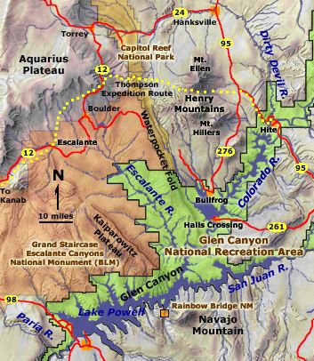 Map of the Grand Staircase-Escalante Canyons region
