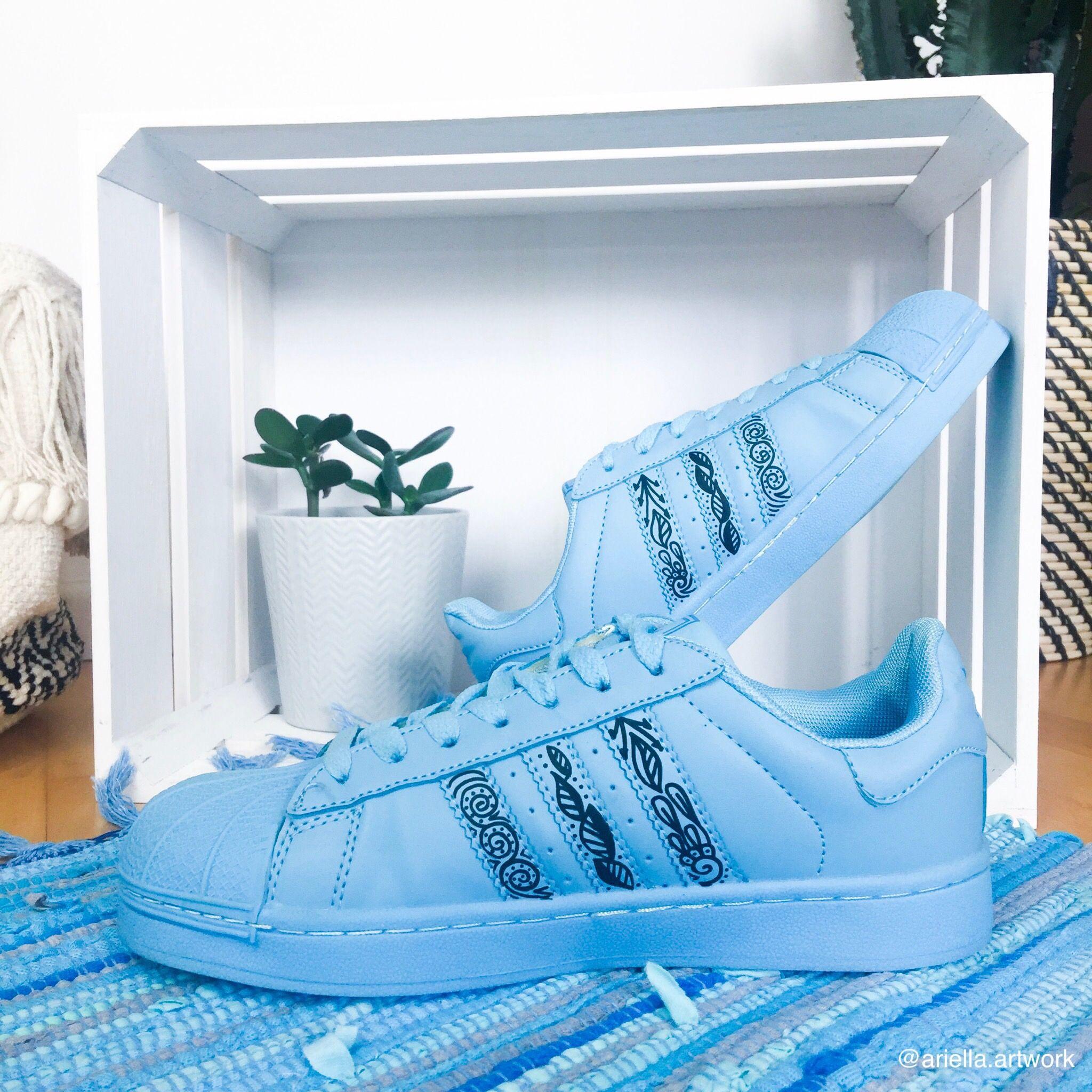 Customized adidas Superstars with zentangle Design | Adidas