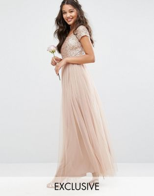e54edc89639aa Maya Bardot Maxi Dress With Delicate Sequin And Tulle Skirt ...