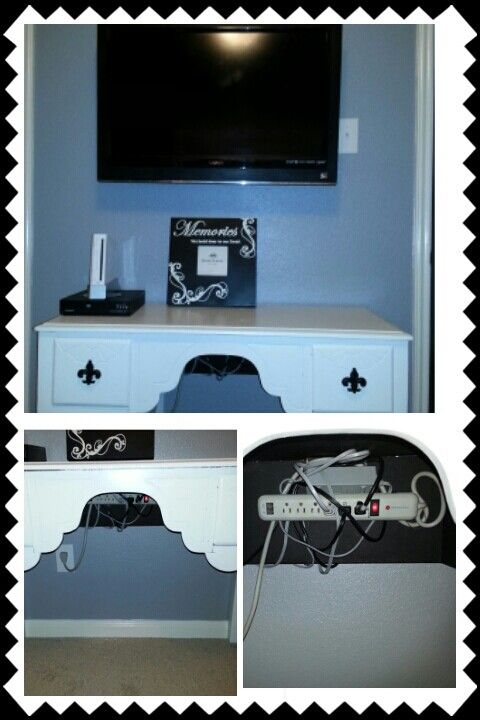wall mounted TV with hidden TV/DVD player/gaming console wires. Hid ...