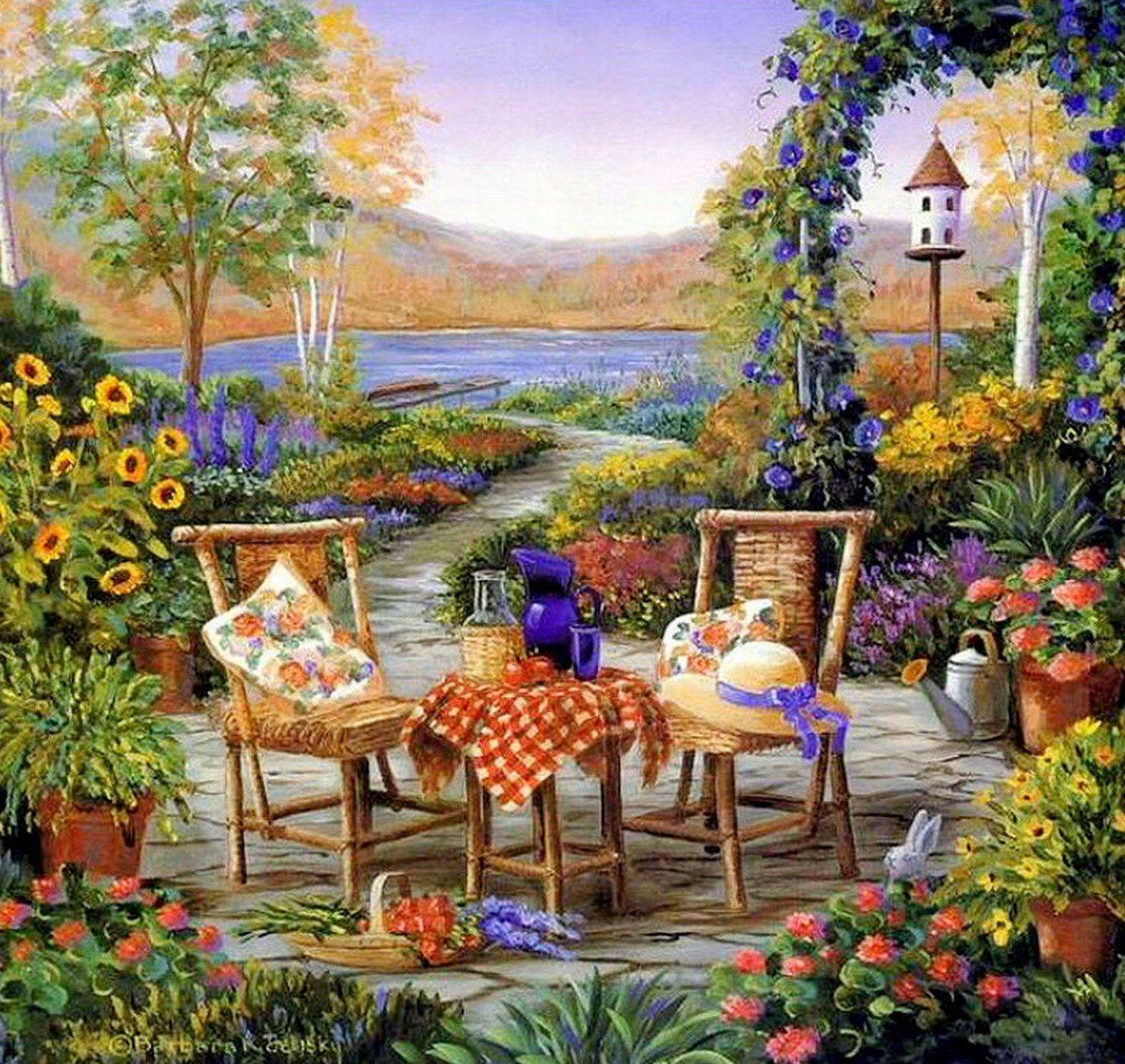 Cuadros modernos pinturas cuadros de casas con jardines for Jardines modernos