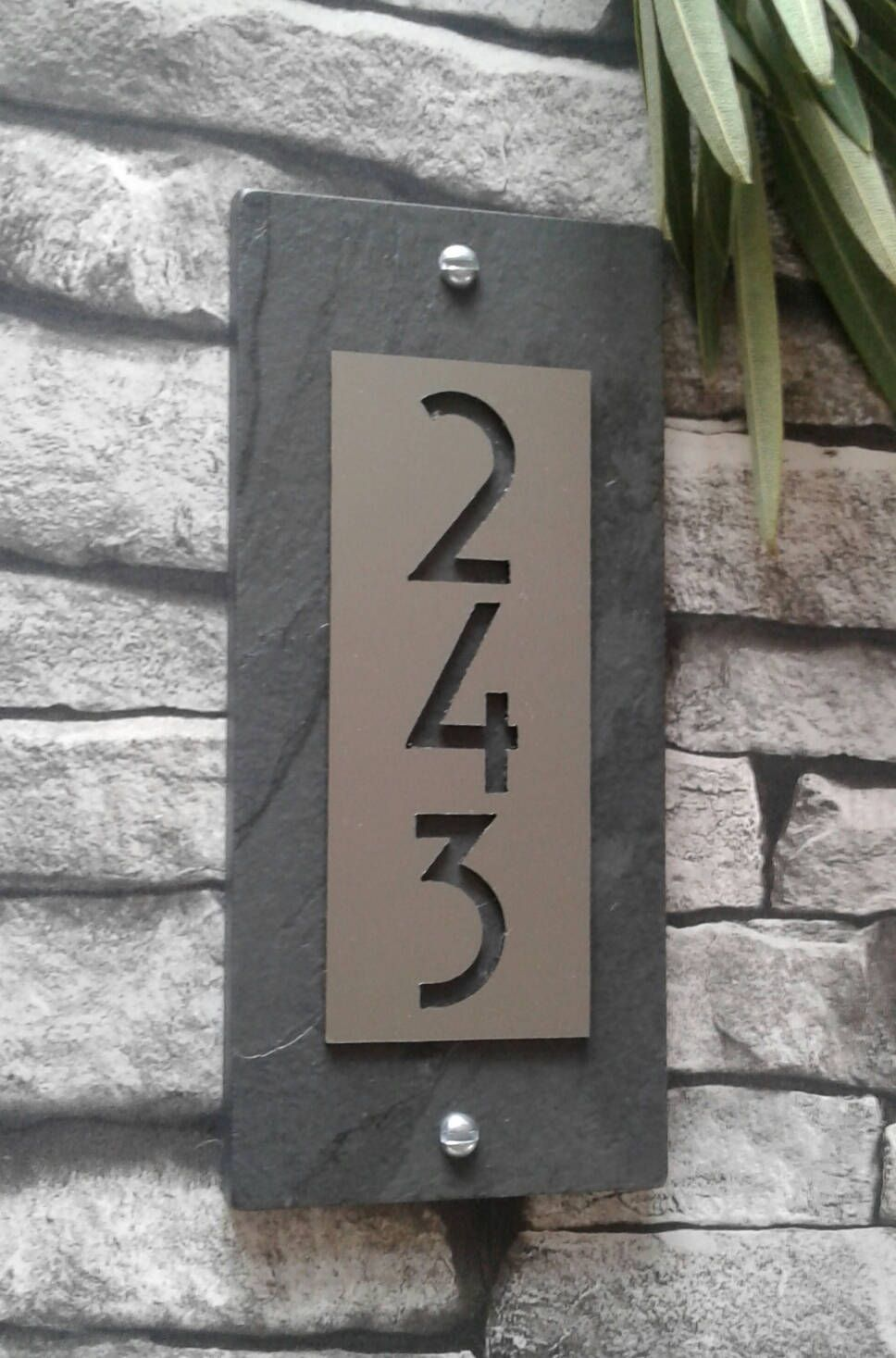 Mid Century Modern House Numbers Copper Vertical Address Etsy Modern House Numbers Sign Modern House Number House Numbers