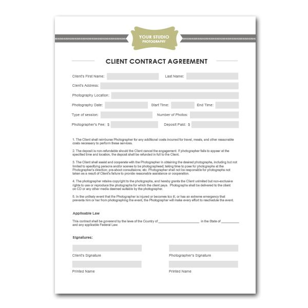 SquijooCom  Photography Contract Template  Things I Want To Do