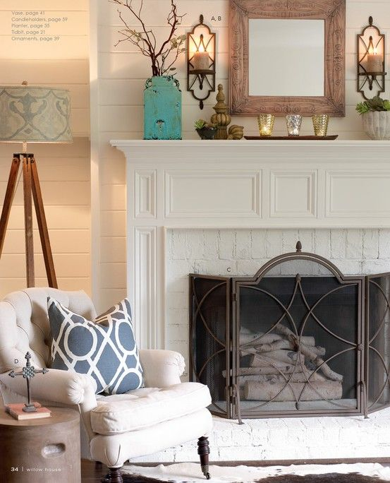 All White Fireplace