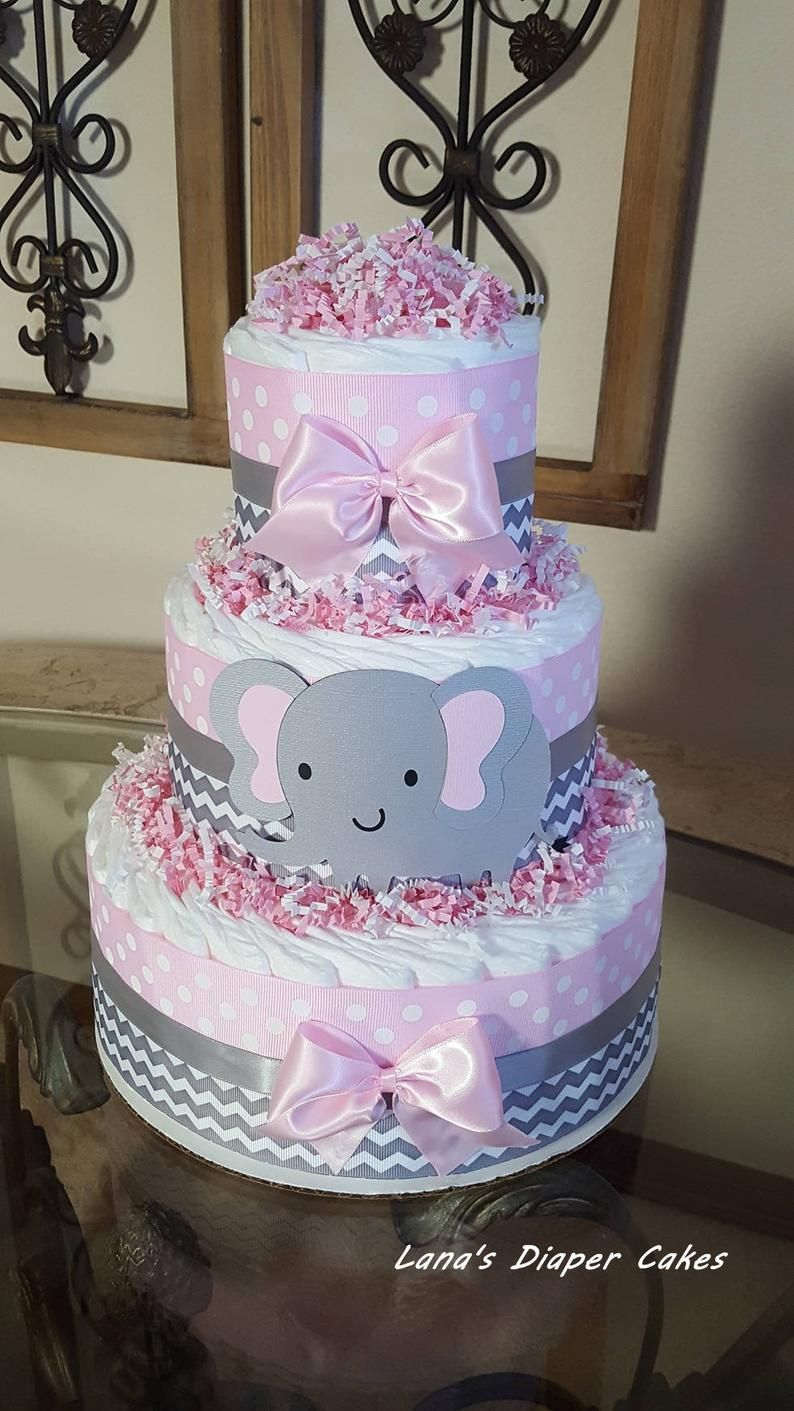Girl diaper cake set pink and grey chevron elephant diaper cakesBaby shower centerpieces Elephant baby shower pink and grey diaper cakes
