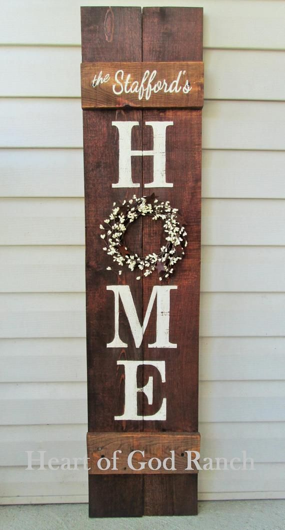 HOME Porch Sign Welcome Wreath Personalized Pip Berry 5 As for Me My House Reversible Option Two Sided Family Wood Sign Hand Painted