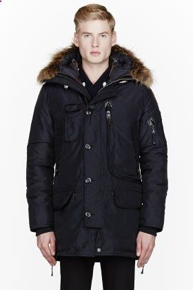 Parajumpers Navy Raccoon Fur Hooded Kodiak Coat for men | SSENSE $1000