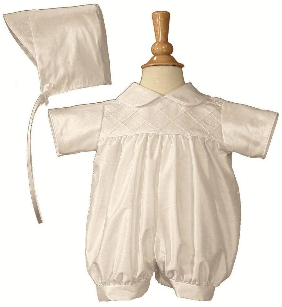 a3002a61a Boys White Smocked Silk Christening Baptism Romper | Boys ...