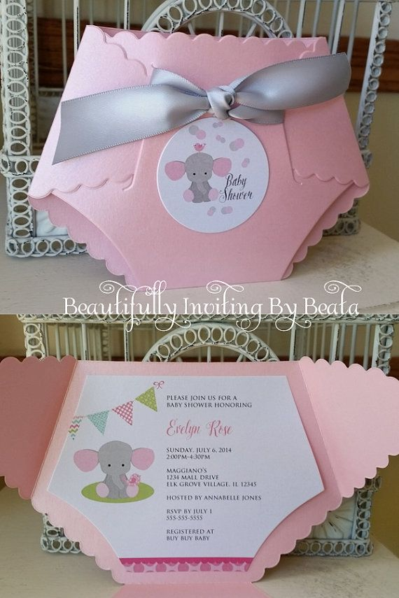Baby Elephant Diaper Invitation for Baby Shower - Pink and Gray Baby ...