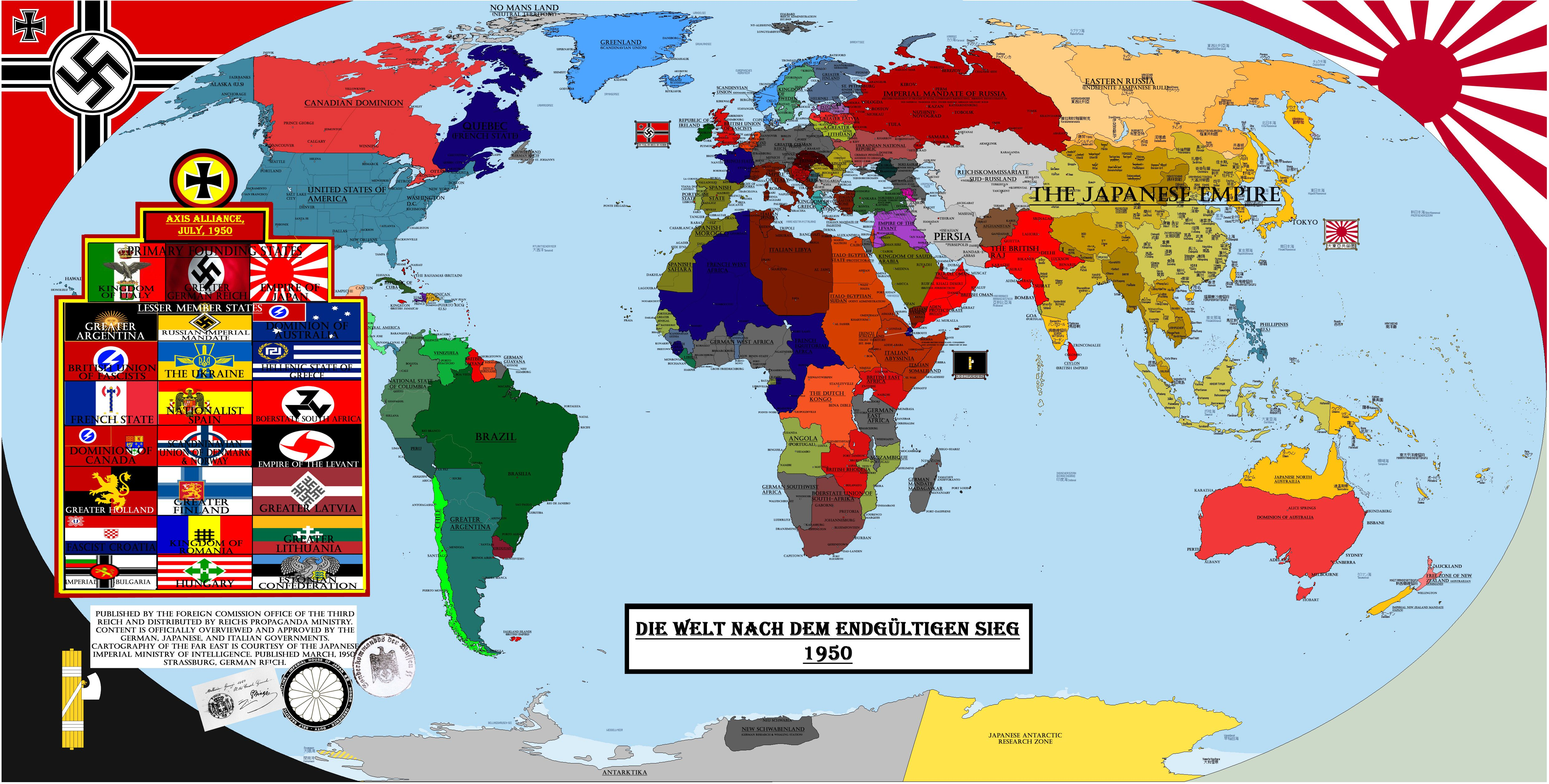 """Map of the world as depicted in """"The Man in the High Castle"""