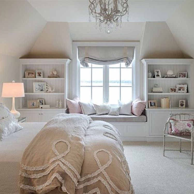 Bedroom Window Bench Seat Bedroom Athletics Keira Bedroom Chandeliers For Sale Red Lighting Bedroom: Bedroom In The Eaves. Lovely Soft Palette.